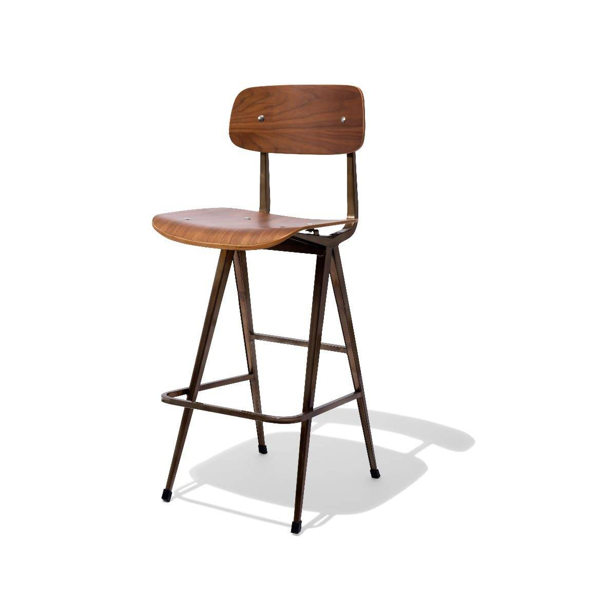 Industry West Madewell Bar Stool with a Walnut Seat