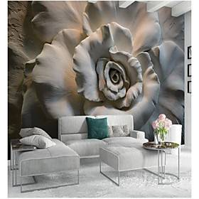 Floral Art Deco 3D Home Decoration Classic Modern Wall Covering, Canvas Material Adhesive required Mural, Room Wallcovering