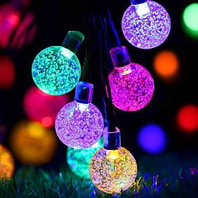 6.5M 30LED String Lights Outdoor Solar LED Light String Crystal Ball Bubble Lamp Waterproof For Wedding Garden Lawn Christmas Decoration