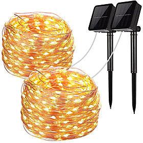 2pcs LED Solar Outdoor Lights Garden String Lights 100 LEDs Fairy Holiday Christmas Party Garland Solar Garden Waterproof 12m