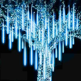 4Packs 50cm x8 Rain Drop Lights LED Falling Rain Lights 32 Tubes 960LED Outdoor Icicle Snow Meteor Shower Lights for Christmas Wedding Party Holiday Garden Dec