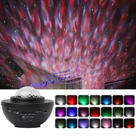 Projector with Bluetooth Music Speaker LED Starry Sky Projection Blunderbuss Laser Lamp Night Scape Lighting Water Stripe Lamp Christmas Halloween Children Bab