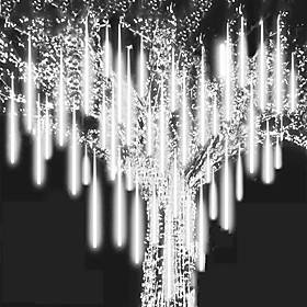 LED Falling Rain Lights 11.8 inch 8 Tubes 144 LED Rain Drop Lights Outdoor Icicle Snow Meteor Shower Lights for Christmas Wedding Party Holiday Garden Decorati