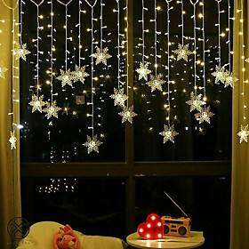3.5m Christmas Decoration Lights 96pcs LED Snowflake Curtain String Lights Fairy Garland Lights for Window Curtain Home Holiday Party Outdoor Décor Waterproof