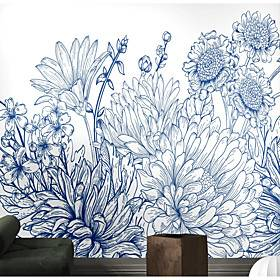 Blue Flower Wallpaper Self-Adhesive Removable Peel and Stick Wallpaper Decorative Wall Covering for Wall Surface Cover Easy to Apply