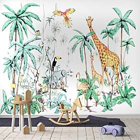 Cartoon Forest Wallpaper Self-Adhesive Removable Peel and Stick Wallpaper Decorative Wall Covering for Wall Surface Cover Easy to Apply
