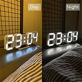3D LED Wall Clock Modern Design Digital Table Clock Alarm Nightlight Watch For Home Living Room Decoration