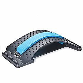 back stretching device,back massager for bed amp; chair amp; car,multi-level lumbar support stretcher spinal, lower and upper muscle pain relief(black/blue)