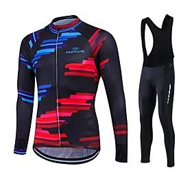 Fastcute Men's Women's Long Sleeve Cycling Jersey with Bib Tights Bike Clothing Suit Thermal / Warm Fleece Lining Breathable 3D Pad Quick Dry Winter Sports Pol