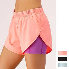 Women's Running Shorts Athletic Bottoms 2 in 1 with Phone Pocket Liner Spandex Gym Workout Running Jogging Training Exercise Breathable Quick Dry Moisture Wick