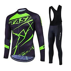 Fastcute Men's Long Sleeve Cycling Jersey with Bib Tights Black Plus Size Bike Clothing Suit Thermal / Warm Fleece Lining Breathable 3D Pad Quick Dry Winter Sp
