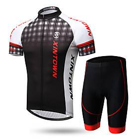 XINTOWN Men's Short Sleeve Cycling Jersey with Shorts Lycra Black / Red WhiteGray Black / White Gradient Bike Clothing Suit Breathable Quick Dry Ultraviolet Re