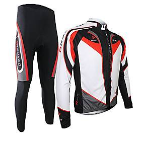 Arsuxeo Men's Long Sleeve Cycling Jersey with Tights Spandex Silicon Polyester Black / Red Purple Yellow Patchwork Bike Clothing Suit Thermal / Warm Breathable