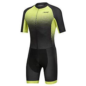 Nuckily Men's Short Sleeve Triathlon Tri Suit Black / Yellow Gradient Bike Clothing Suit Windproof Breathable Quick Dry Sports Spandex Geometric Mountain Bike