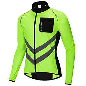 WOSAWE Men's Windbreaker Cycling Jacket Wind Jacket Winter Woven Polyester Bike Jersey Raincoat Top Windproof Reflective Strips Back Pocket Sports Patchwork Bl