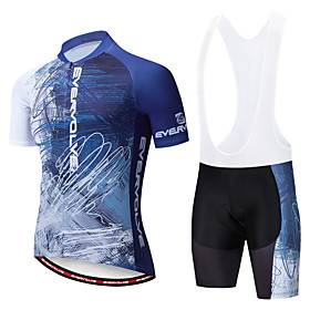 EVERVOLVE Men's Short Sleeve Cycling Jersey with Bib Shorts White Black Bike Clothing Suit Breathable Moisture Wicking Quick Dry Anatomic Design Sports Cotton