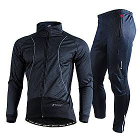 Nuckily Men's Long Sleeve Cycling Jacket with Pants Winter Fleece Lycra Black Royal Blue Solid Color Bike Clothing Suit Thermal Warm Windproof Fleece Lining Br