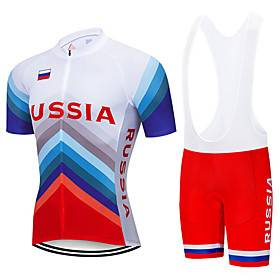 21Grams Men's Short Sleeve Cycling Jersey with Bib Shorts Spandex Polyester Blue / White Russia National Flag Bike Clothing Suit UV Resistant Breathable 3D Pad