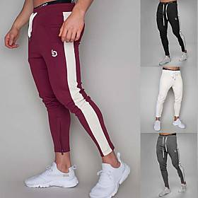 Men's High Waist Sweatpants Joggers Jogger Pants Track Pants Sports  Outdoor Athleisure Wear Bottoms Side-Stripe Drawstring Elastane Cotton Winter Running Walk