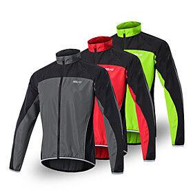Arsuxeo Men's Cycling Jersey Spandex Polyester Bike Jersey Top Waterproof Windproof Breathable Sports Dark Grey / Black / Red / Green Mountain Bike MTB Road Bi