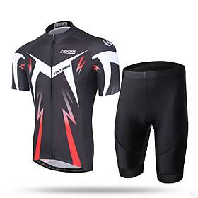 21Grams Men's Short Sleeve Cycling Jersey with Shorts Coolmax Mesh Spandex Green and Black Black / Red Novelty Bike Shorts Pants / Trousers Jersey Breathable