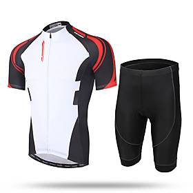 21Grams Men's Short Sleeve Cycling Jersey with Shorts Lycra Black / Red Black / Yellow Black / White Bike Shorts Pants / Trousers Jersey Breathable Quick Dry U