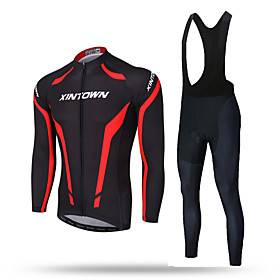 XINTOWN Men's Long Sleeve Cycling Jersey with Bib Tights Red / black Solid Color Bike Pants / Trousers Jersey Bib Tights Breathable 3D Pad Reflective Strips Ba