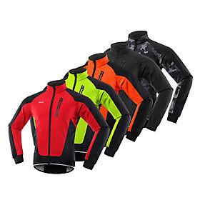 Arsuxeo Men's Cycling Jacket Winter Fleece Spandex Bike Windbreaker Winter Fleece Jacket Pants Fleece Lining Reflective Strips Sports Red / Blue / Orange Mount