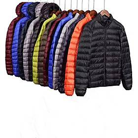 Men's Long Sleeve Sports Puffer Jacket Outdoor Down Jacket Full Zip Outerwear Coat Top Casual Athleisure Winter Cotton Thermal Warm Waterproof Lightweight Fitn
