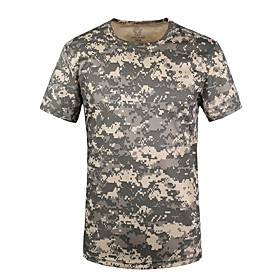army fans outdoor sports clothing men short sleeve camouflage real tree pattern dry quick t-shirt (m)