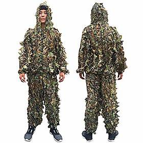 Hunting clothes New 3D maple leaf Bionic Woodland Camo Ghillie Suits sniper birdwatch airsoft Hunting Deer Stalking in Camouflage Clothing jacket and pants (XL