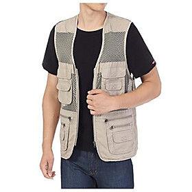 Mens Pockets Jacket Outdoors Travels Sports Vest Tops (Khaki, UK M =ASIA XL)
