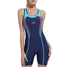 Women's One Piece Swimsuit Patchwork Bodysuit Swimwear Blue Chlorine resistance Comfortable Sports Sleeveless - Swimming Spring, Fall, Winter, Summer / Spandex