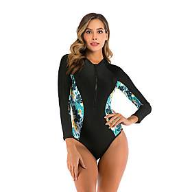 Women's Rash Guard Dive Skin Suit Diving Rash Guard One Piece Swimsuit Swimwear Waterproof Breathable Long Sleeve Patchwork - Swimming Surfing Water Sports Aut