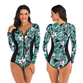 Women's Rash Guard Dive Skin Suit One Piece Swimsuit Elastane Swimwear Breathable Quick Dry Long Sleeve Front Zip - Swimming Surfing Water Sports Painting Autu