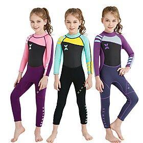 DiveSail Girls' Full Wetsuit 2mm Nylon SCR Neoprene Diving Suit UV Resistant Long Sleeve Back Zip - Diving Water Sports Patchwork Spring Summer Fall / High Ela