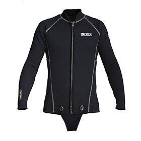 SLINX Men's Wetsuit Top Wetsuit Jacket 3mm SCR Neoprene Top Thermal / Warm UV Sun Protection Ultraviolet Resistant Long Sleeve Front Zip - Diving Solid Colored