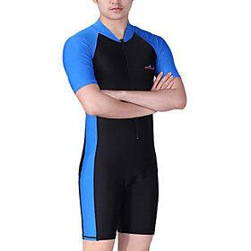 DiveSail Men's Rash Guard Dive Skin Suit Diving Suit SPF50 UV Sun Protection Quick Dry Short Sleeve Front Zip - Swimming Diving Surfing Patchwork / High Elasti