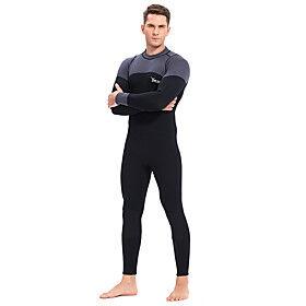 YON SUB Men's Full Wetsuit 3mm CR Neoprene Diving Suit Thermal / Warm Waterproof Zipper Long Sleeve Back Zip - Diving Water Sports Patchwork Autumn / Fall Spri