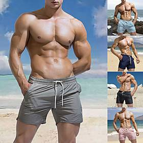 Men's Swim Shorts Swim Trunks Bottoms Breathable Quick Dry Drawstring - Swimming Beach Water Sports Solid Colored Summer / Micro-elastic