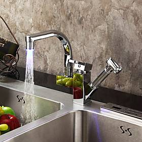 Kitchen faucet - One Hole Chrome Pull-out / ­Pull-down Deck Mounted Contemporary Kitchen Taps