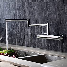 Brass Kitchen Faucet,Chrome Pot Filler Wall Mounted Foldable Modern Kitchen Taps with Cold and Hot Switch and Valve