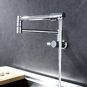 Kitchen faucet - Single Handle One Hole Chrome Pot Filler Wall Mounted Contemporary Kitchen Taps