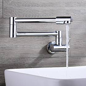 SingleHandleKitchen Faucet,Wall MountedOne Hole Rotatable/Foldable/Centerset,Brass Contemporary Kitchen Faucet Contain with Cold and Hot Water