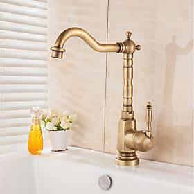 Antique Kitchen Faucet Rotatable Antique Brass Standard Spout Kitchen Vessel Taps Single Handle One Hole with Cold and Hot Water