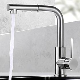 Brass Kitchen Faucet,SIngle Handle One Hole Nickel Brushed Pull-out Rotatable Kitchen Taps with Cold and Hot Water