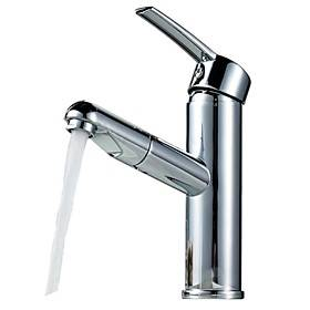 Kitchen faucet - Single Handle One Hole Chrome Pull-out / ­Pull-down Widespread Contemporary Kitchen Taps