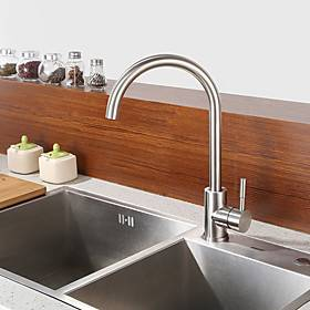 Kitchen faucet - Single Handle One Hole Nickel Brushed Standard Spout Centerset Contemporary Kitchen Taps