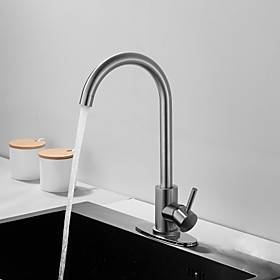 Kitchen faucet - Single Handle One Hole Nickel Brushed Tall /Prep Deck Mounted Contemporary / Antique Kitchen Taps Stainless Steel