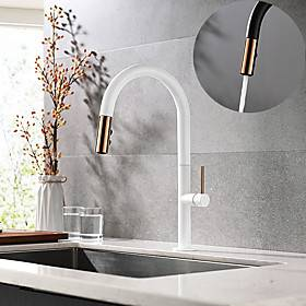 Single HandleKitchenFaucet,Painted FinishesOneHole Pull Down/Rotatable/Spray/Rainshower/Waterfall,Brass Kitchen Faucet Contain with Supply Lines